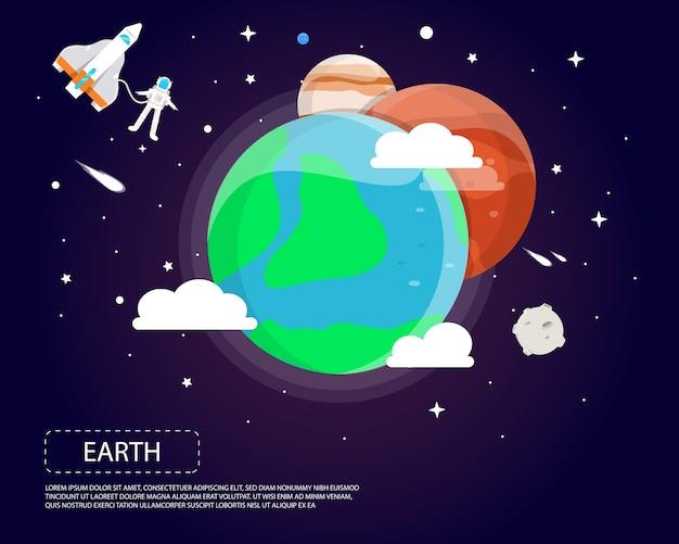 太陽系のイラストデザインの地球火星と木星