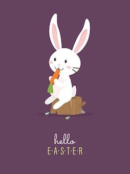 Привет пасха с белым пасхальным кроликом.