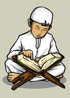 Векторная иллюстрация мусульманского малыша, читающего коран - вектор