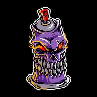 頭蓋骨の缶のイラスト