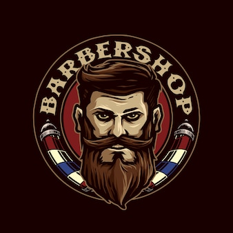 ひげを生やした、理髪店のアイコンのロゴを持つ男