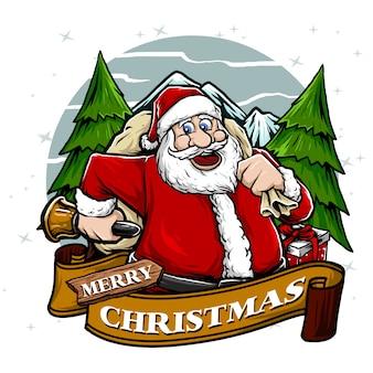 ポスタークリスマステーマイラストに適したベルとサンタクロース