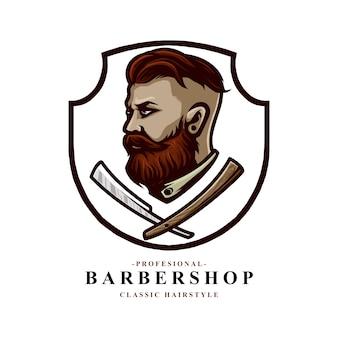 理髪店のロゴに適したひげを生やしたかみそりの刃を持つ男のベクトル