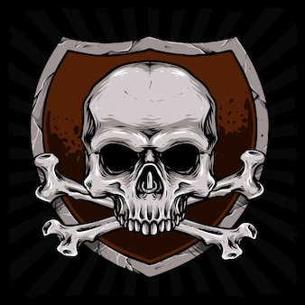 盾の図と骨の頭蓋骨をクロスします。