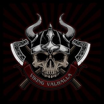 Череп викинга с изображением оружия
