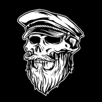 Бородатый череп с рисунком в виде матросской шляпы