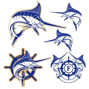 ベクトルマーリン魚のバッジアイコンのセット