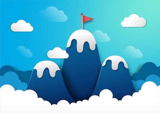 山の上に赤い旗