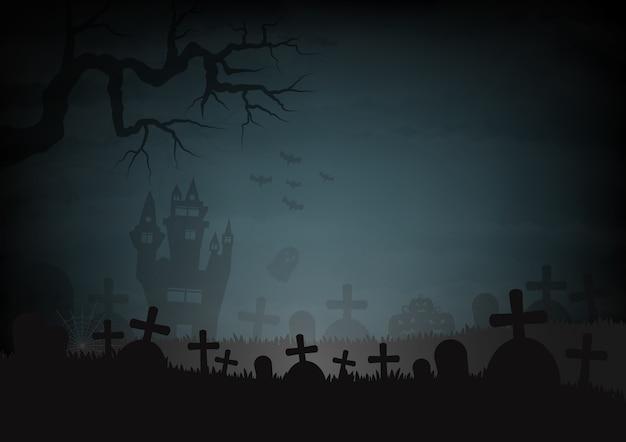 ハロウィーンの日と城の墓