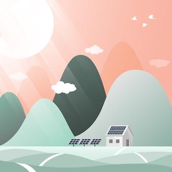 太陽電池パネルとグリーンエネルギーの写真