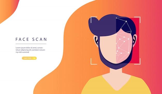 顔認識システム。顔スキャン。