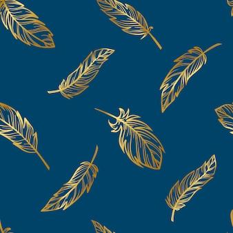 Симпатичные бохо бесшовные модели из золотых перьев