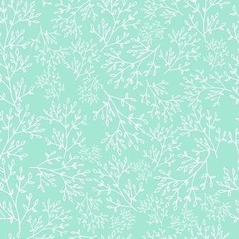 ミントの背景に春のシームレスパターン