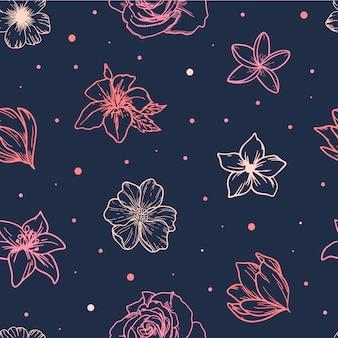 スケッチ花からかわいい春のシームレスパターン