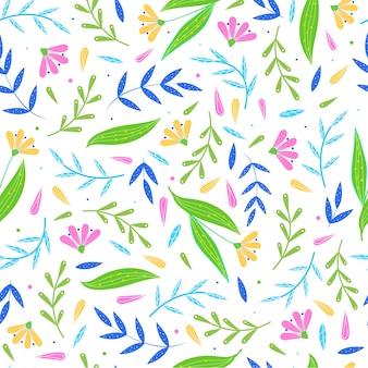 抽象的な花のオブジェクトからかわいいのシームレスパターン