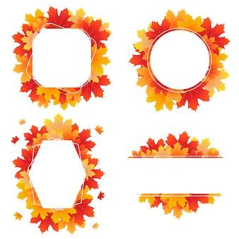 カエデの葉から作成された秋のフレームのセット
