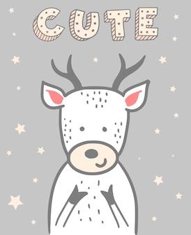 鹿とかわいいクリスマスカード