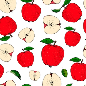 手描きのリンゴとのシームレスなパターン