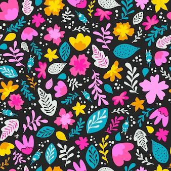 Бесшовный весенний узор с цветами