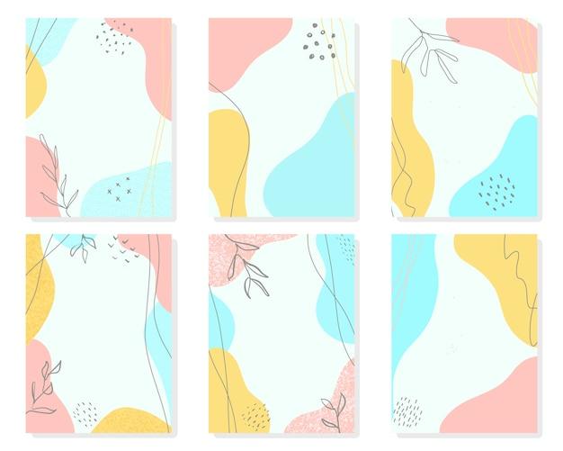 抽象的な形とキュートでモダンな花の背景のセット