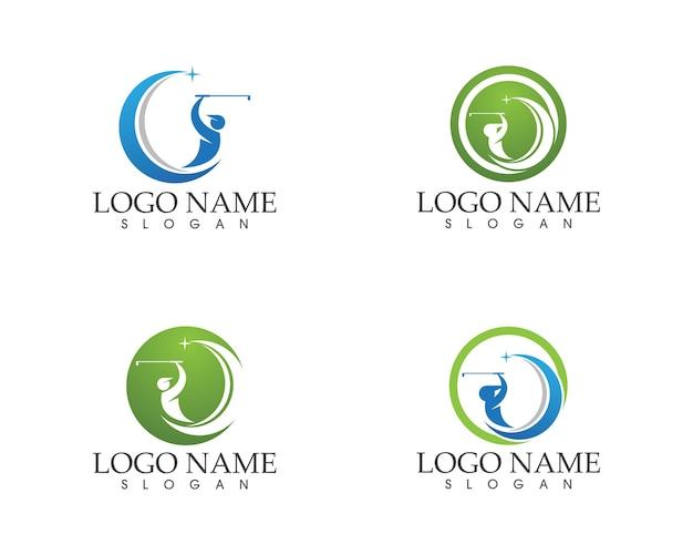 ゴルフの人々は、ロゴデザインのベクトルスイング
