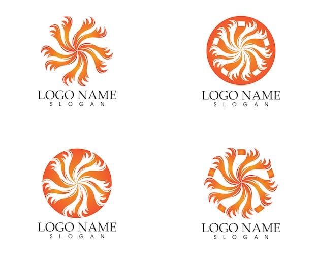 サークルの火のアイコンのロゴデザインのベクトルの図解