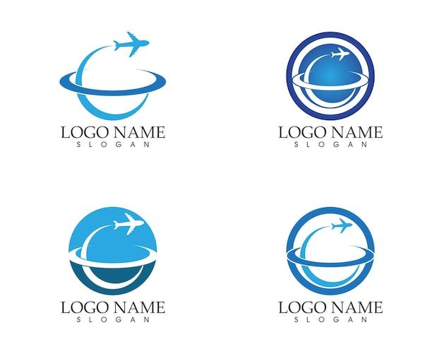 トラベルアイコンのロゴデザインベクトル