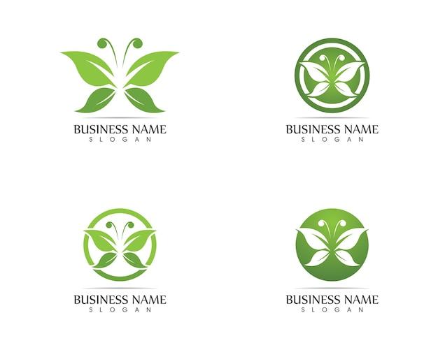Зеленая бабочка логотип дизайн векторной иллюстрации