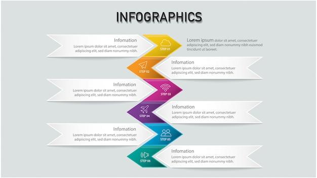 Современный инфографический шаблон с красочными текстовыми полями, шаблон для макета рабочего процесса, схема, параметры чисел, активизировать параметры,