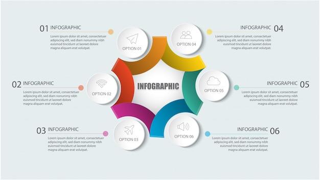 Современный инфографический шаблон с кругом и шагами или опцией для разметки рабочего процесса, схемы, числовых опций, опций повышения