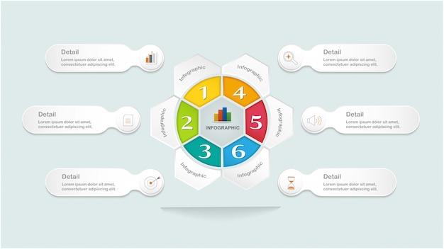 Современный инфографический шаблон с кружком в центре и ступенями или опцией для разметки рабочего процесса, диаграммы, числовых опций, опций повышения