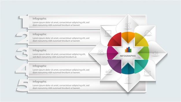 Плоский геометрический инфографический шаблон с опциями или шагами для разметки рабочего процесса, схемы, числовых опций, опций шага