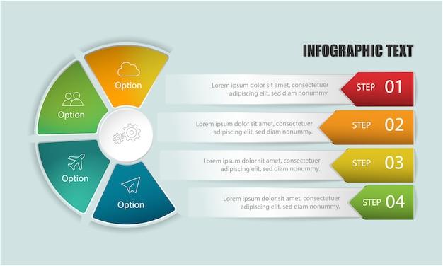 Инфографический шаблон с кружком и шагами или опцией в текстовых полях для разметки рабочего процесса, диаграммы, числовых опций, опций повышения