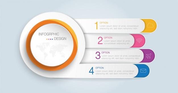 ビジネス、教育、ウェブデザイン、バナー、パンフレット、チラシ、図、ワークフロー、タイムライン、ステップまたはオプションの計画のインフォグラフィックテンプレート