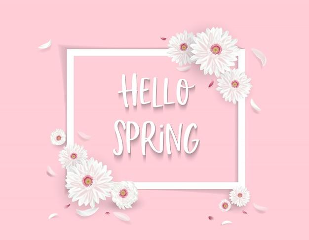 Привет весенняя иллюстрация с цветочными украшениями и местом для текста