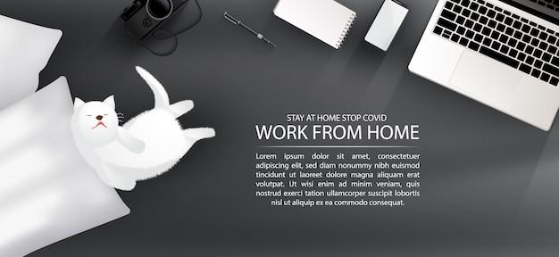 Рабочая область для социального дистанцирования, работы из дома с прекрасным домашним животным концепции инфографики