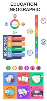 教育のインフォグラフィック要素とロゴ