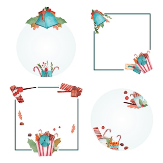 クリスマス水彩画フレームコレクション