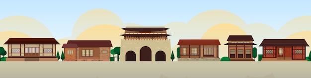 韓国の伝統的な家屋のスカイライン