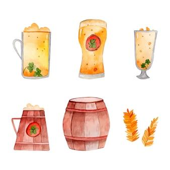 聖パトリックの日のビール水彩イラストグループ