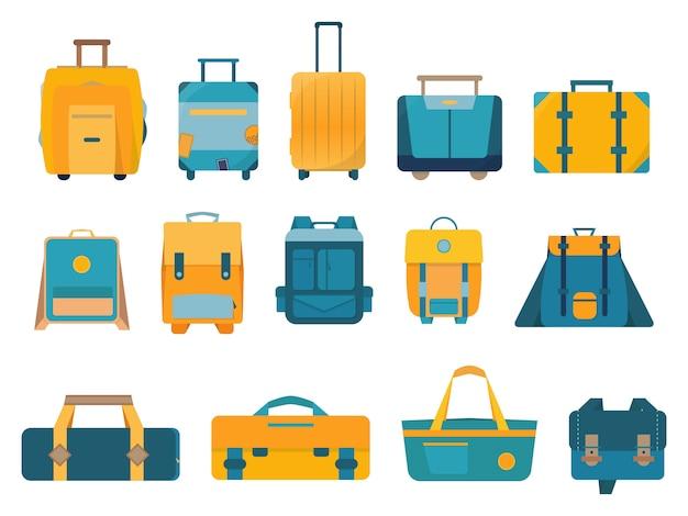 Плоская группа дорожных сумок и чемоданов