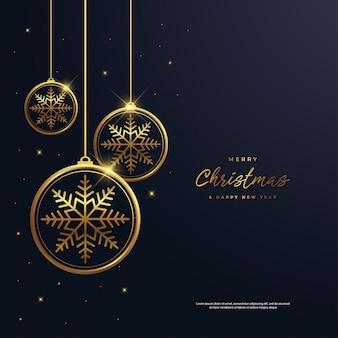 クリスマスと新年の背景とスノーフレークゴールド