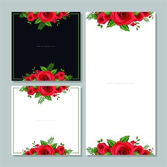 黒と白の背景に赤いバラのベクトルの背景