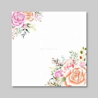 美しいバラの水彩画