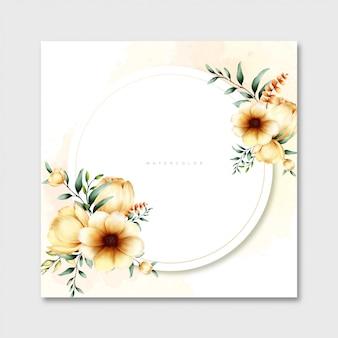 サークル花の水彩画