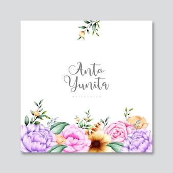 花の空白カード花の水彩画