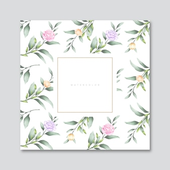 葉と花の水彩画カード