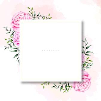 空白の長方形の水彩画とピンクのバラカード