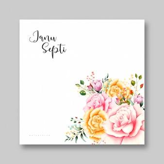 バラの水彩画のウェディングカード
