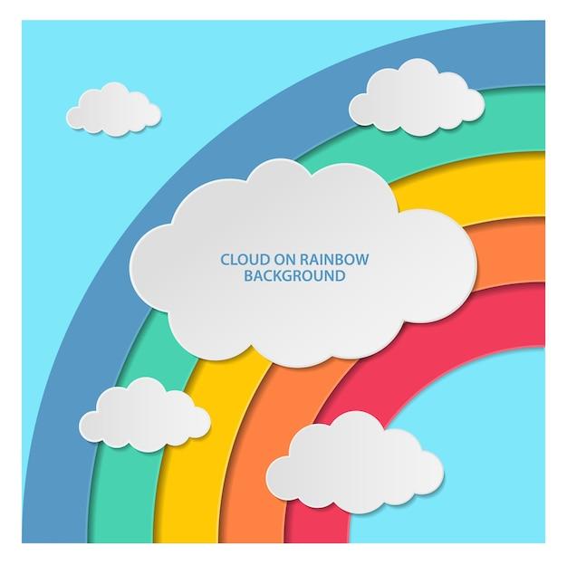 レインボーの背景に雲